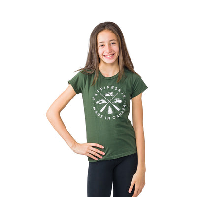 Youth Girl's Crest T-Shirt, Forest Green