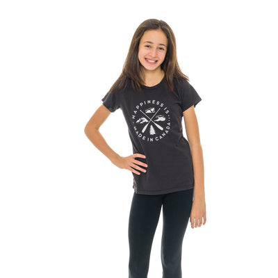 Youth Girl's Crest T-Shirt, Vintage Black