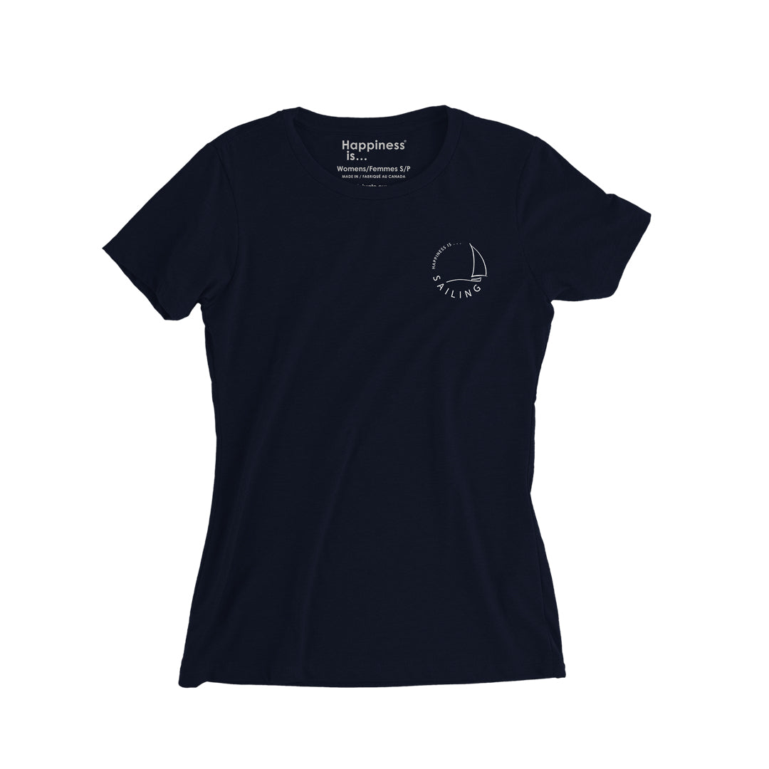 Women's Sailing T-Shirt, Navy with White