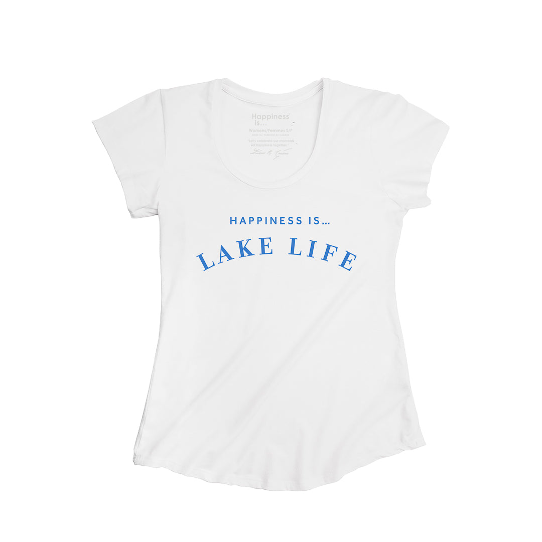 Women's Lake Life Scoop T, White with Blue