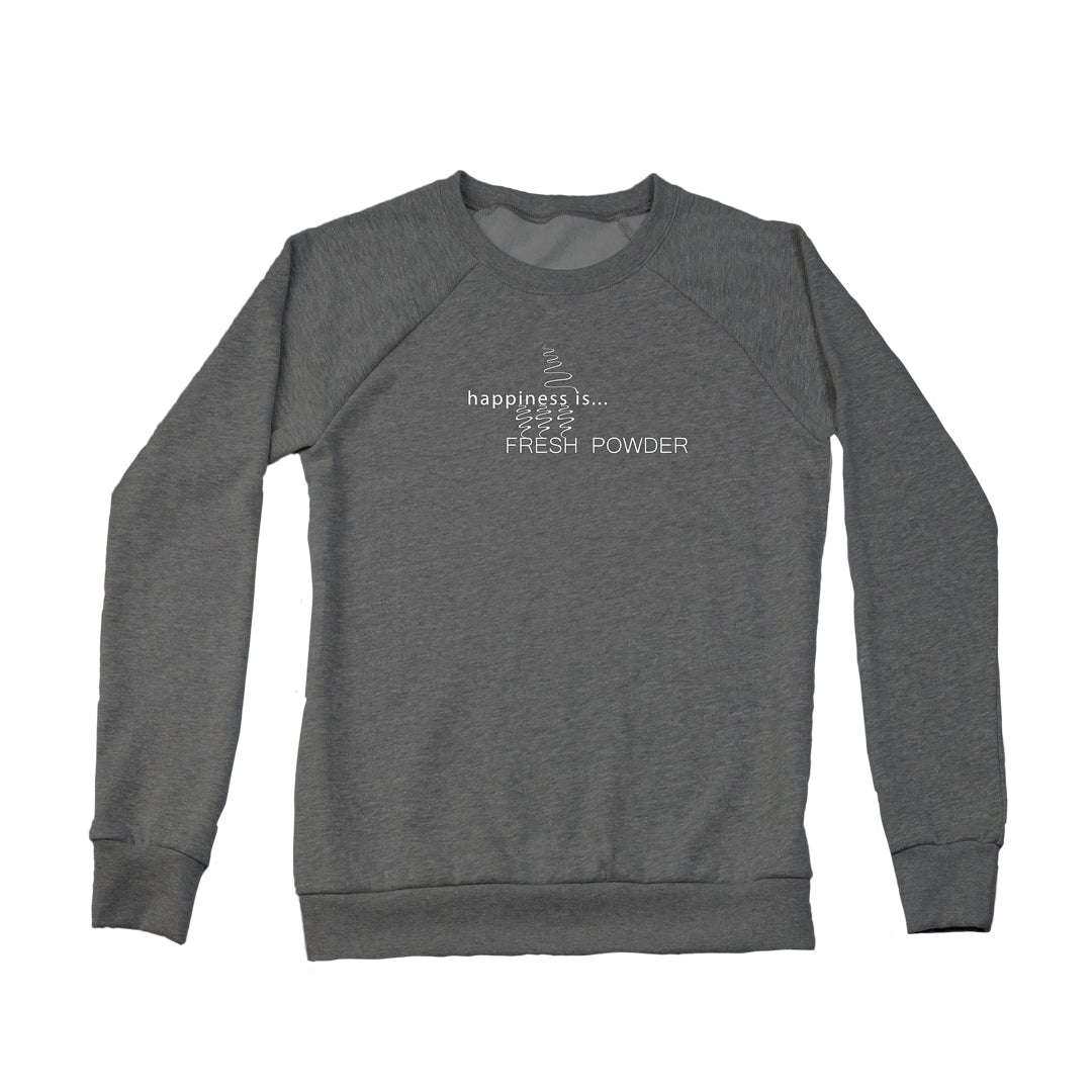 Women's Fresh Powder Tracks Crew Sweatshirt, Charcoal