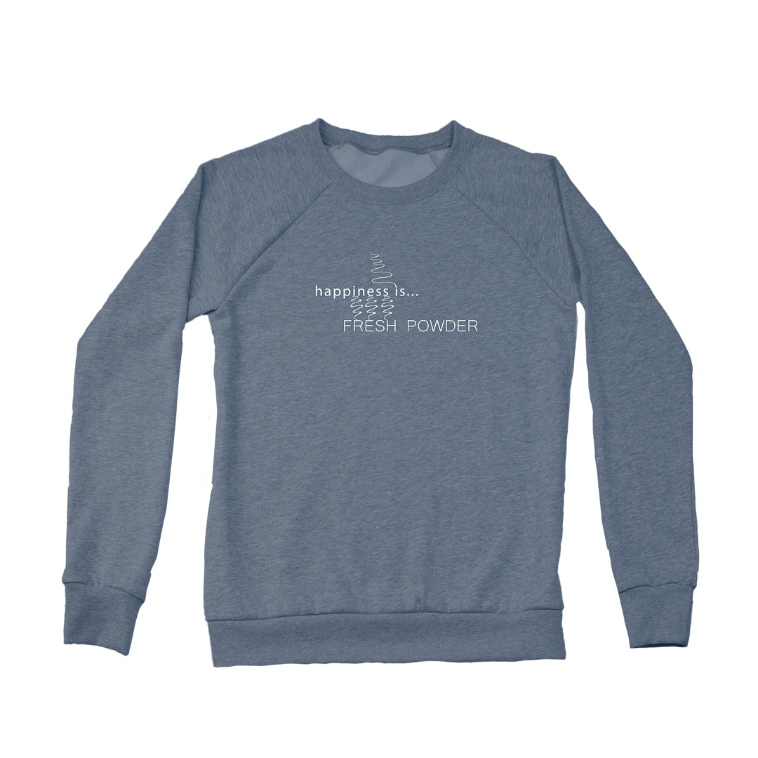 Women's Fresh Powder Tracks Crew Sweatshirt, Heather Navy