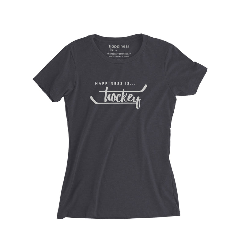 Women's Hockey T-Shirt, Vintage Black
