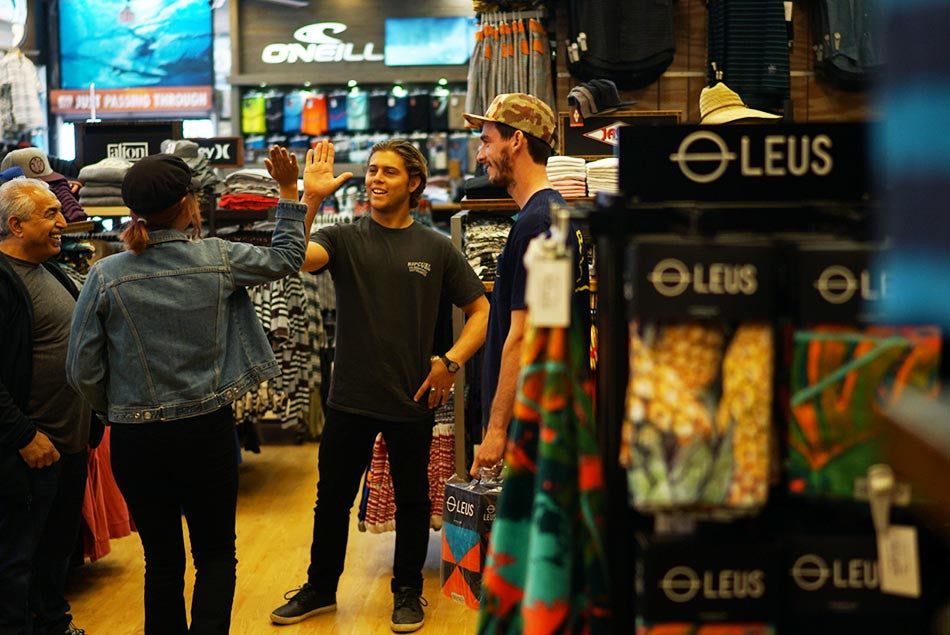 LEUS co-founder Conner Coffin at Jack's Surfboards on Main Street, Huntington Beach