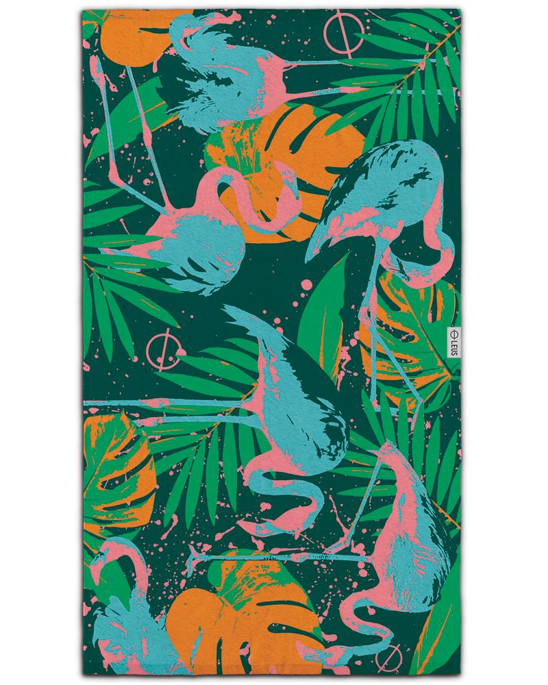 Flora & Flamingo Beach Towel - LEUS Towels