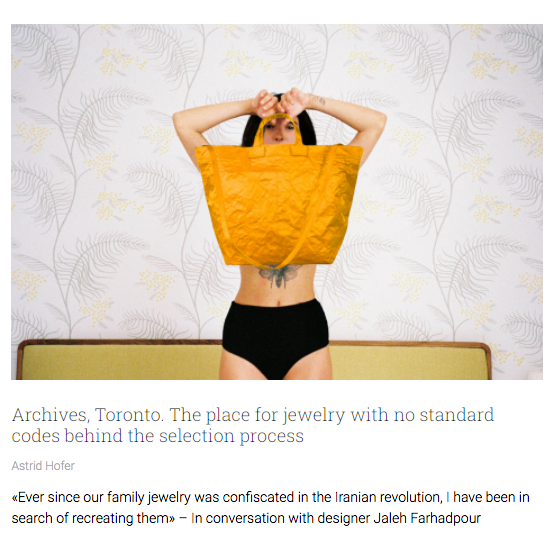 Archives, Toronto. The place for jewelry with no standard codes behind the selection process