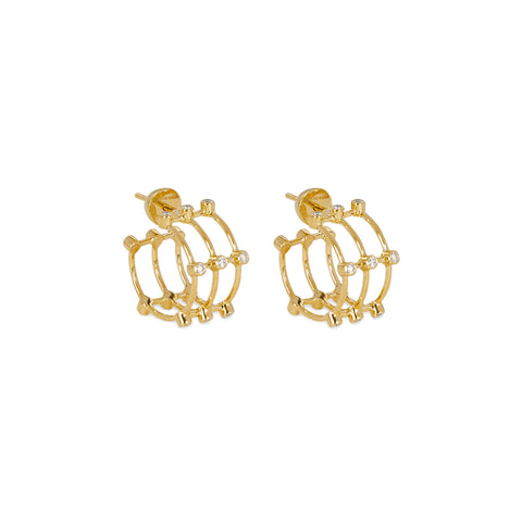 """MINI DIAMOND CAGE"" EARRINGS"