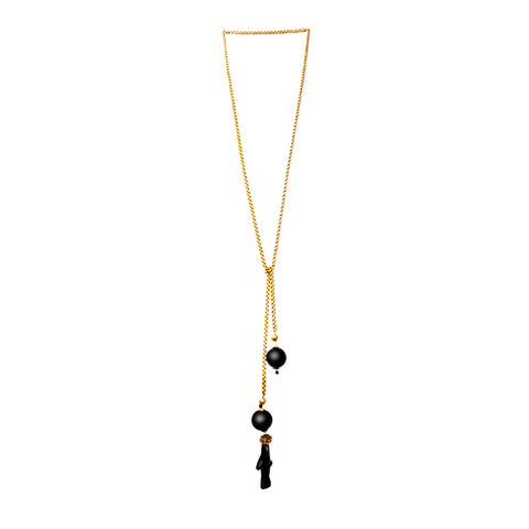18k Gold Chain, Black Coral and Onyx Long Necklace by Jaleh FarhadPour