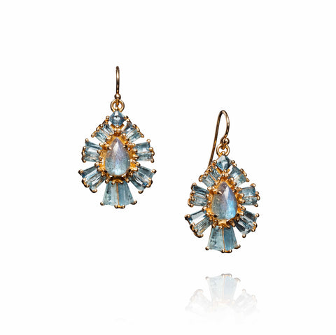 """PLEATED"" SMALL LABRADORITE, AQUAMARINE & ROSE GOLD EARRINGS"