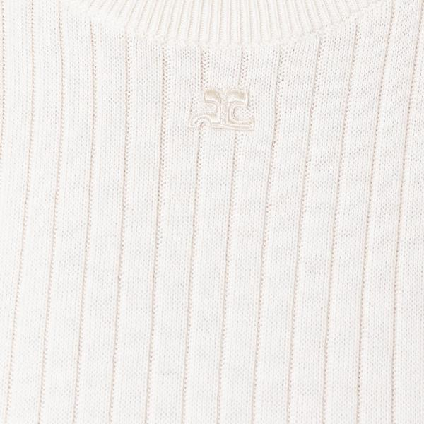 """White Short Sleeve Ribbed"" Sweater"