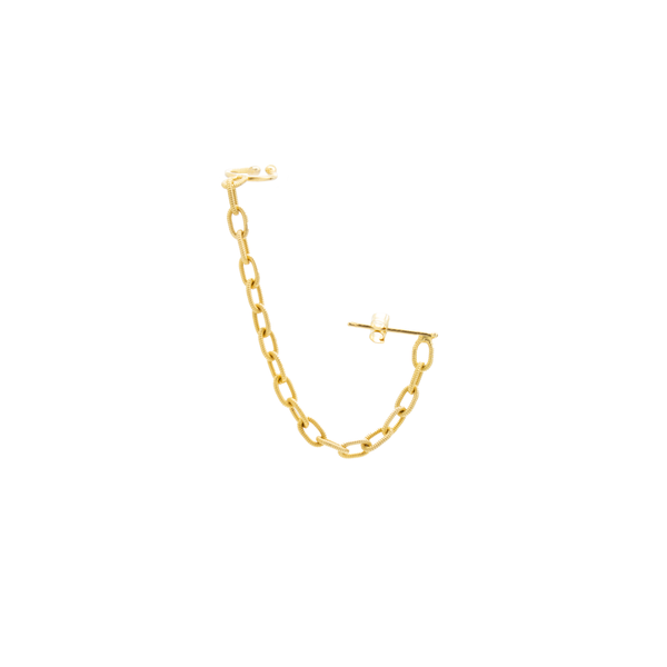 """22K Yellow Gold Hand-Made Chain and Cuff"" Earring"