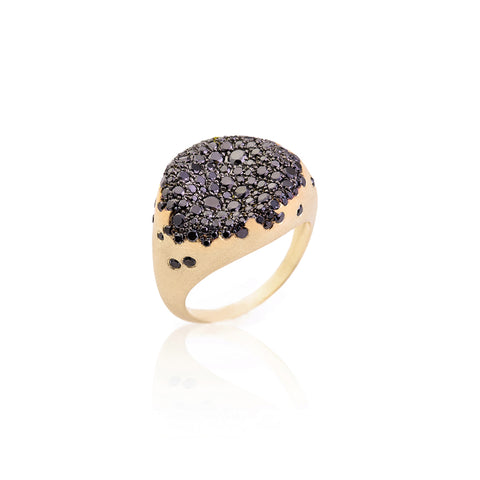 """BABY MALAK ORIGINAL CAVIAR ROUND"" 18K YELLOW GOLD & BLACK DIAMOND RING"