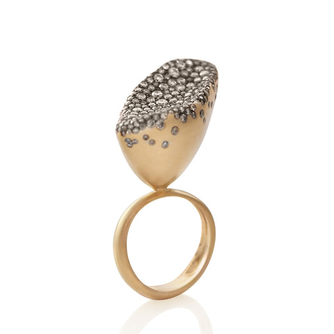 """BABY MALAK FLOURISH CHAMPAGNE MARQUISE BIG"" 18K YELLOW GOLD RING"