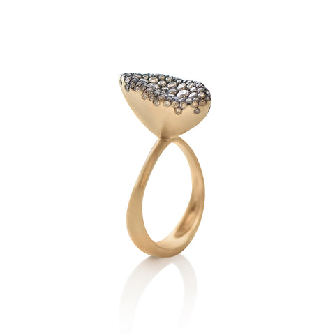 """BABY MALAK FLOURISH CHAMPAGNE MARQUISE SMALL"" 18K YELLOW GOLD RING"