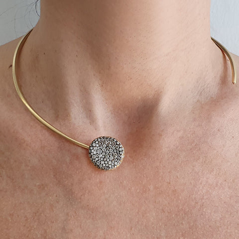 """BABY MALAK ORIGINAL ROUND CHAMPAGNE"" 18K YELLOW GOLD & CHAMPAGNE DIAMONDS NECKLACE"