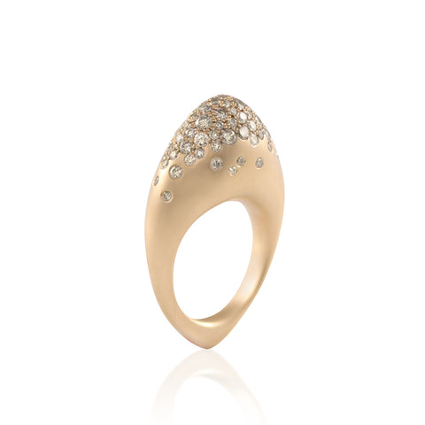 """FUSE ROCK"" 18K YELLOW GOLD & CHAMPAGNE DIAMONDS RING"