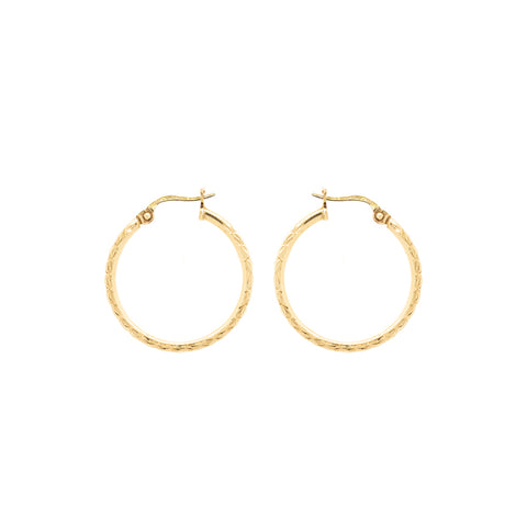 """14k Yellow Gold Textured Medium Hoop"" Earrings"