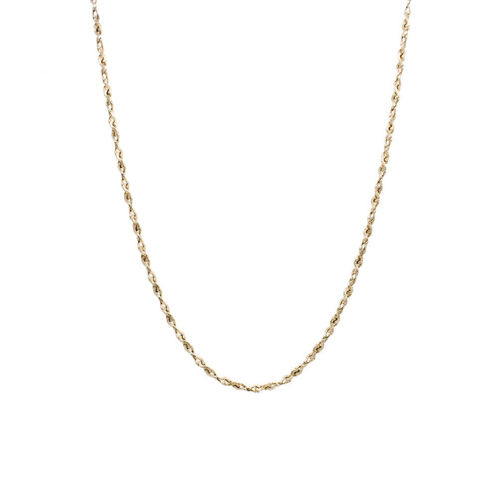"""10K Yellow Gold Textured Rope Chain"" Necklace"