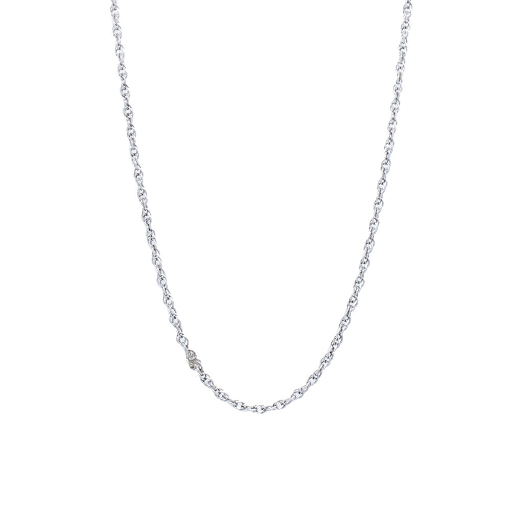 """14K White Gold Box Clasp Chain"" Necklace"