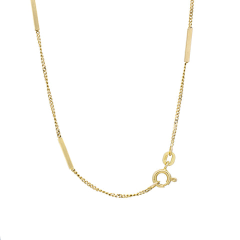 """14K Yellow Gold Bar Station Chain"" Necklace"
