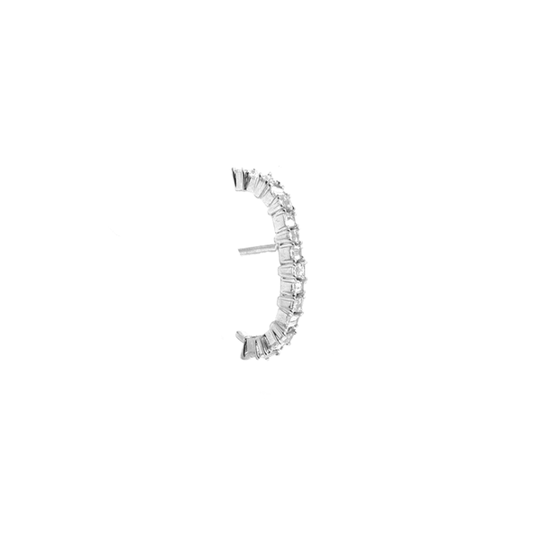 """18K White Gold Baguette Diamond"" Mono Earring"