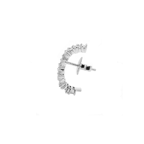 """ICE STITCH 1"" 18K WHITE GOLD & BAGUETTE DIAMONDS MONO EARRING"
