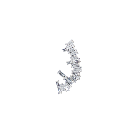 """18K White Gold Baguette Diamond"" Mono Ear Crawler"