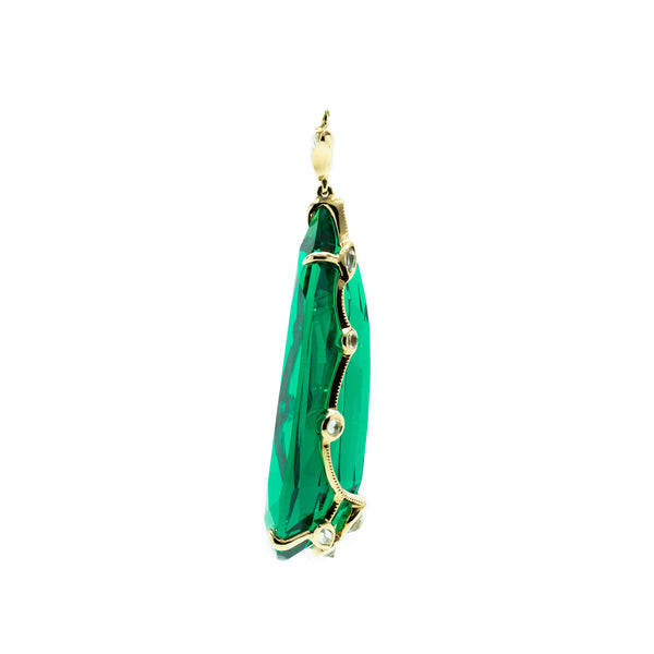 """ERA 1"" 18K GOLD, EMERALD & DIAMOND DROP EARRINGS"