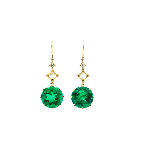 """18K Yellow Gold, Diamond & Columbian Emerald"" Earrings"