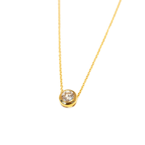 18k Gold Round Brilliant Cut Diamond Pendant by Jaleh FarhadPour