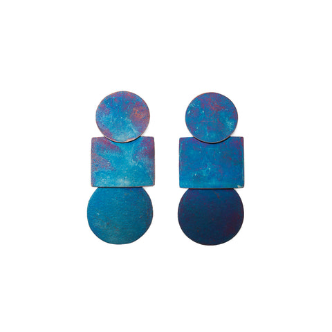"""Popova Earrings"" Iridescent Blue"