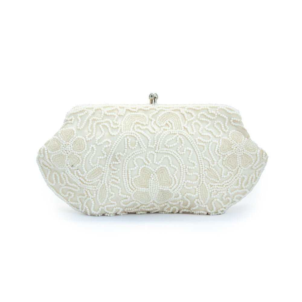 "Vintage ""White Beaded"" Clutch"