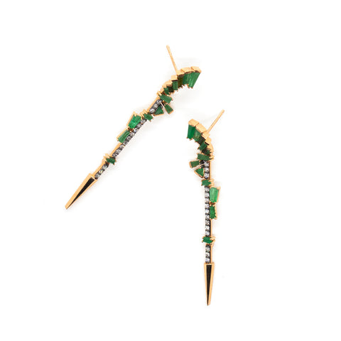 """FILLY"" WHITE DIAMOND, EMERALDS, GREEN TOURMALINE & ROSE GOLD EARRINGS"