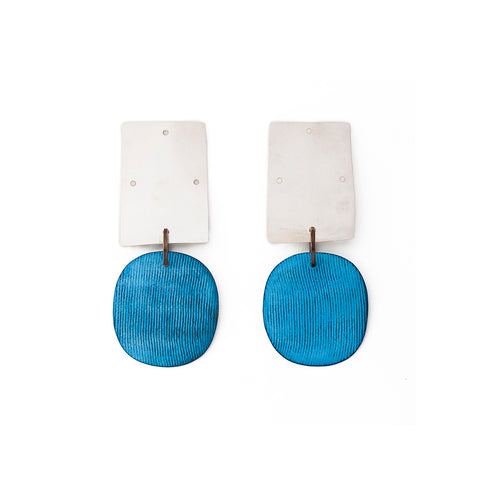 """Overt Earrings"" Sterling Silver Blue Oxide"