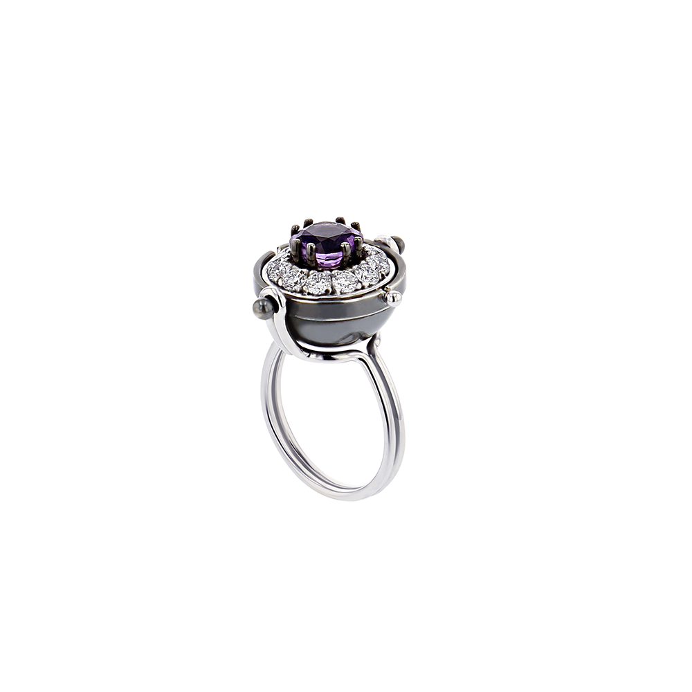 """SIRIUS SPHERE"" 18K WHITE GOLD RING WITH AMETHYST & DIAMOND"