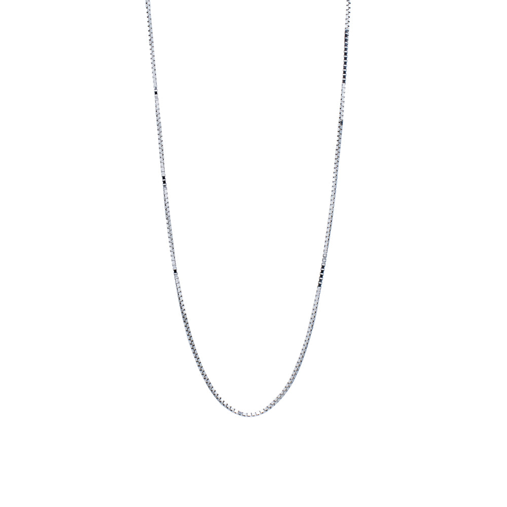"""14K White Gold Box Chain"" Necklace"