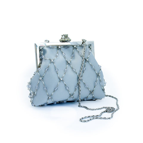 "Vintage ""Light Grey Beaded"" Purse"