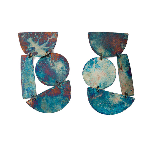 """Masha Earrings"" Iridescent Blue Silver-Plated Brass"