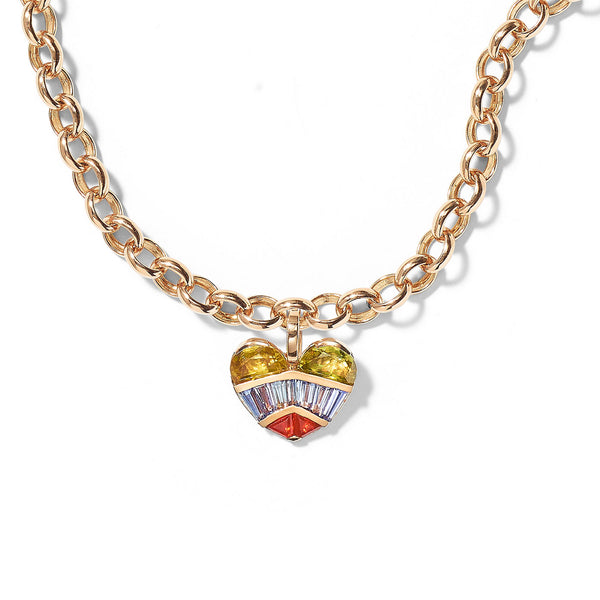 """STRAPPED HEART PENDANT AND CHAIN"" NECKLACE"