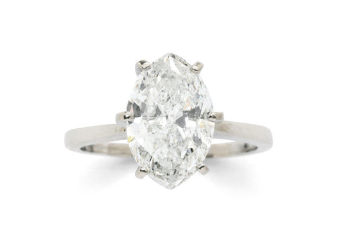 A Diamond Solitaire and 14K White Gold Ring Vintage