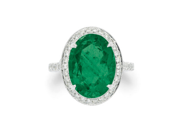 Emerald, Diamond and White Gold Ring, 6.37 carats, Vintage
