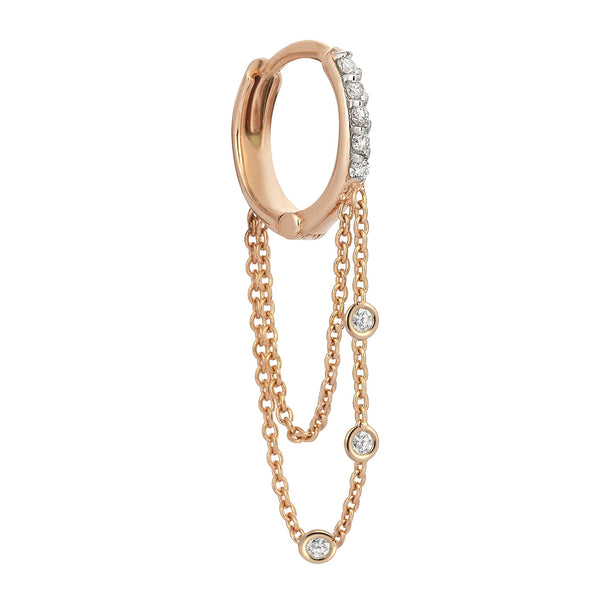 """3 Diamonds Dangle Double Chain Hoop Earring"" Champagne Diamond"