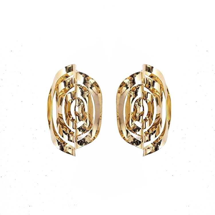 """TWISTED"" GOLD BRASS EARRINGS"
