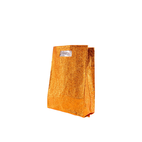 """Orange Metallic Leather Big"" Lunch Bag"