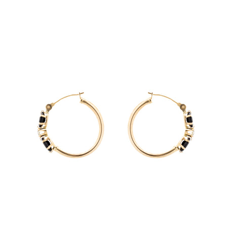 """9K Gold Sapphire and Diamond Hoop"" Earrings"