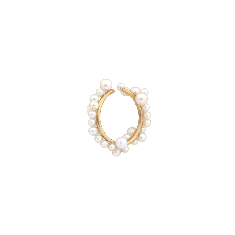 """GALE WARNING"" GOLD VERMEIL & PEARL EAR CUFF"