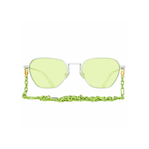 ALESSANDRA RICH X LINDA FARROW GREEN RECTANGULAR SUNGLASSES