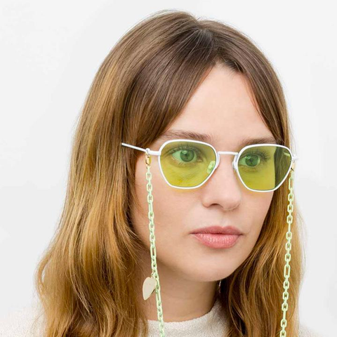 "Alessandra Rich ""1 C8"" Rectangular Green Sunglasses"