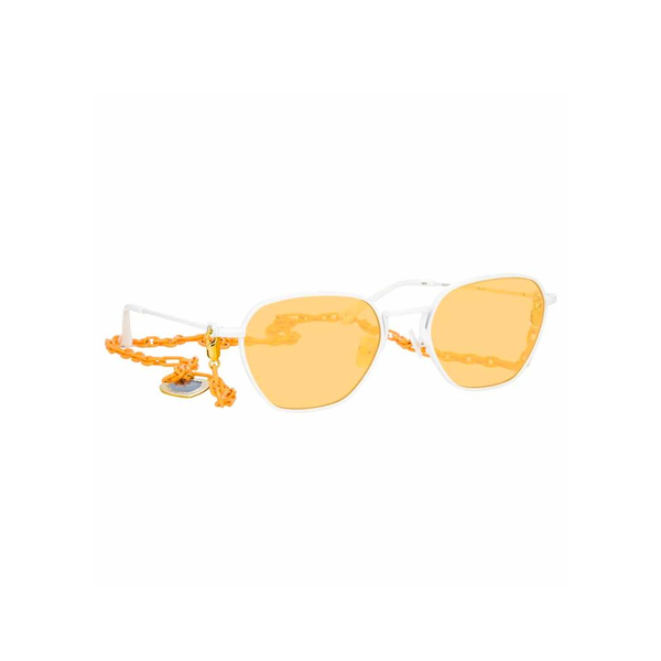 ALESSANDRA RICH X LINDA FARROW ORANGE RECTANGULAR SUNGLASSES