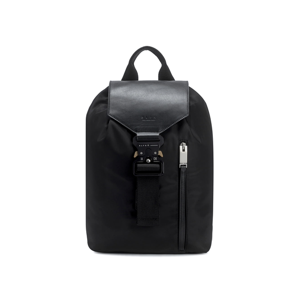 """Tank"" Black Backpack with Leather Flap"